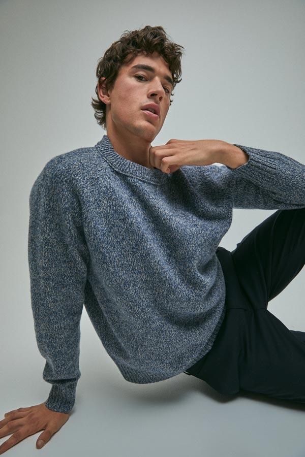 SABA Marlow Merino Wool Textured Knit, 100% Merino Wool, Relaxed Fit, Comes in Blue